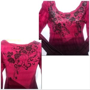 Maurices Tops - Rhinestone Fushia Pink to Purple Hombre Shirt